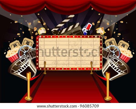 Illustration of theatre marquee with movie theme objects - stock vector