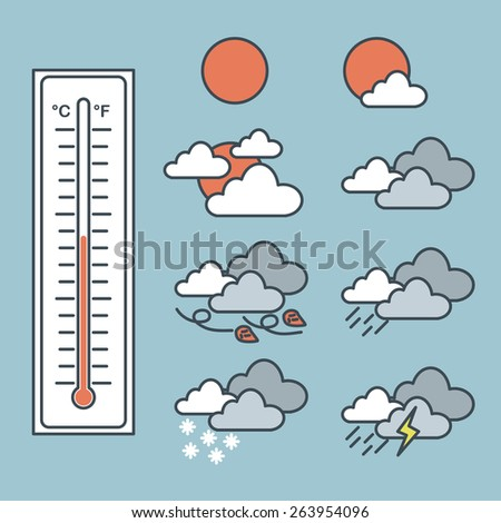 Illustration of thermometer and icon of weather forecast - stock vector