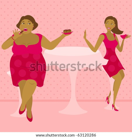 illustration of thick and thin girls in a cafe - stock vector