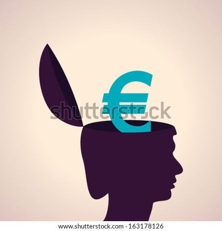 Illustration of thinking concept - human head with euro symbol - stock vector
