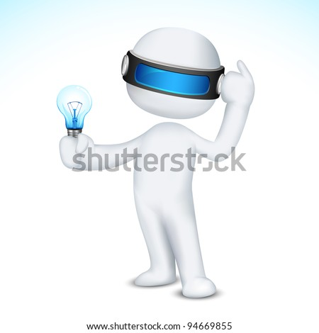 illustration of thinking 3d man in scalable vector with bulb in hand - stock vector