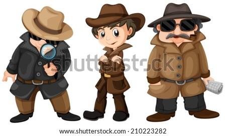 Illustration of three detectives - stock vector