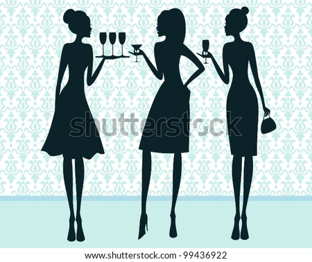 Illustration of three elegant women at a cocktail party. - stock vector