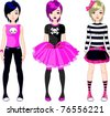 Illustration of three  Emo stile girls - stock vector