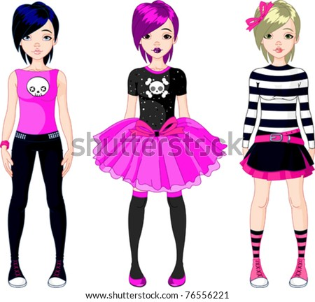 Illustration of three  Emo stile girls - stock vector