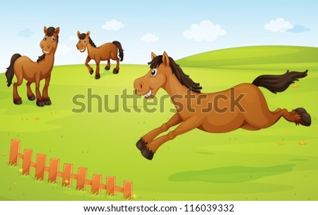 illustration of three horses in a green nature - stock vector