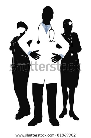Illustration of three members of a medical team - stock vector