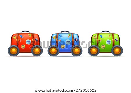 illustration of three old suitcases with stickers and wheels different color on white background - stock vector
