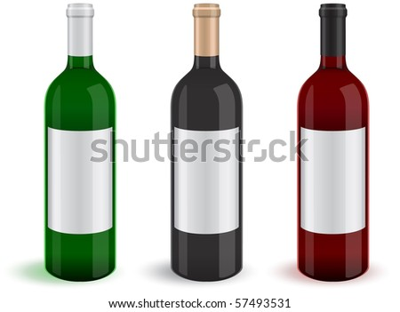 Illustration of three realistic wine bottles. All objects and details are isolated and grouped. Transparent background color is easy to customize. - stock vector