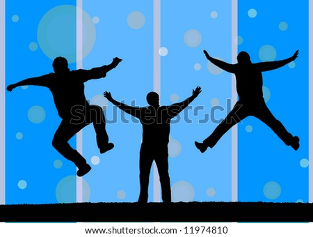 illustration of three silhouette jumping - stock vector