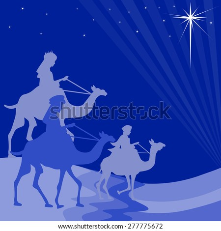 Illustration of three wise men on their way to Bethlehem - stock vector