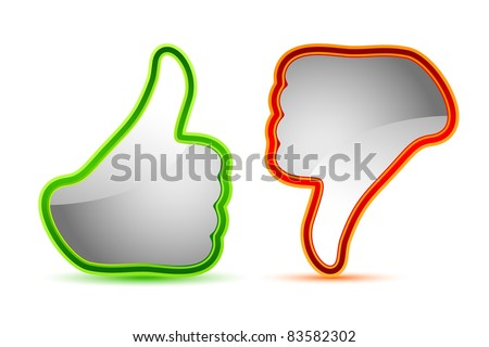 illustration of thumbs up and down gesture icon - stock vector