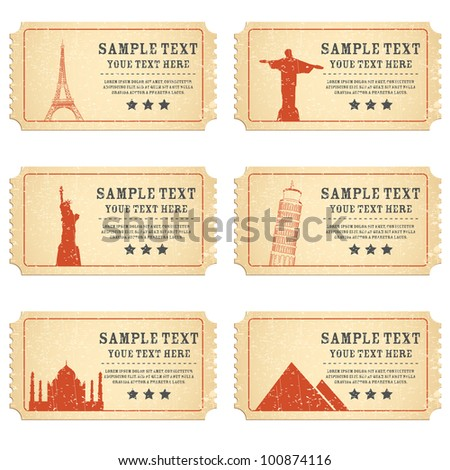 illustration of ticket for different world famous monument - stock vector