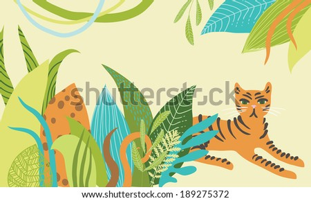 Illustration of tiger lying in the bushes - stock vector