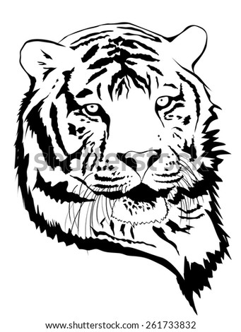 Illustration of Tiger Portrait in Black and White - stock vector