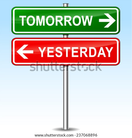 illustration of tomorrow and yesterday directions sign - stock vector