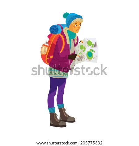 Illustration of tourist looking for a way with map - stock vector