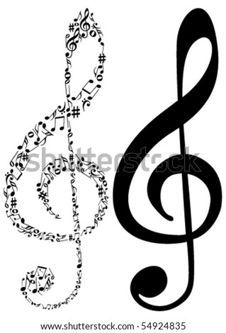 Illustration of tow G clef and music notes - stock vector