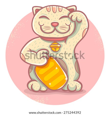 Illustration of traditional asian lucky cat - stock vector
