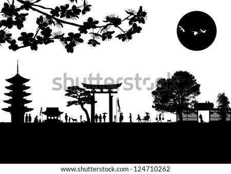 Illustration of traditional Japanese lifestyle silhouette, vector - stock vector