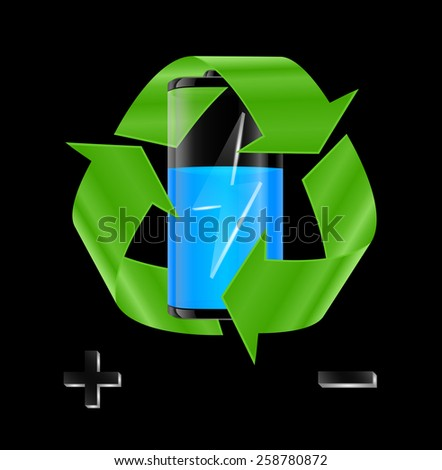 Illustration of transparent battery with blue charge indicator and recycle sign on black background  - stock vector