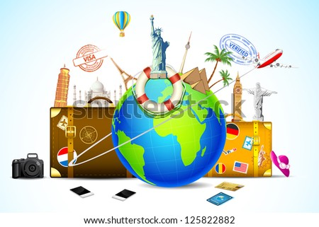 illustration of travel baggage with world famous monument around globe - stock vector