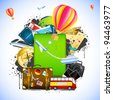 illustration of traveling element like bus,train,hot air balloon and ticket around baggage - stock photo