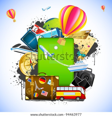 illustration of traveling element like bus,train,hot air balloon and ticket around baggage