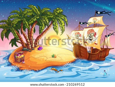 Illustration of treasure island and pirate ship - stock vector