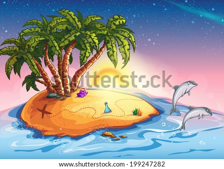 Illustration of Treasure Island in the ocean and dolphins - stock vector