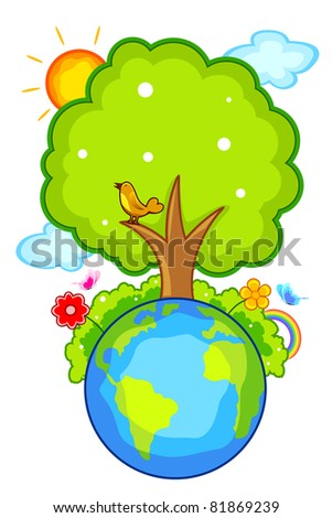 illustration of tree and flower on earth with sun and cloud - stock vector