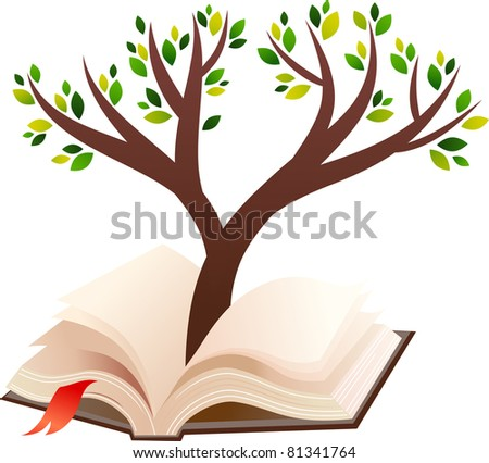 illustration of tree growing in open book - stock vector