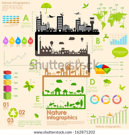 illustration of tree in sustainability infographic - stock vector
