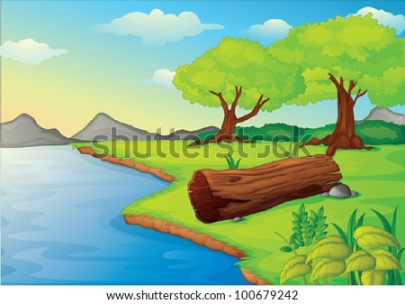 Illustration of trees and log hollow by the water - stock vector
