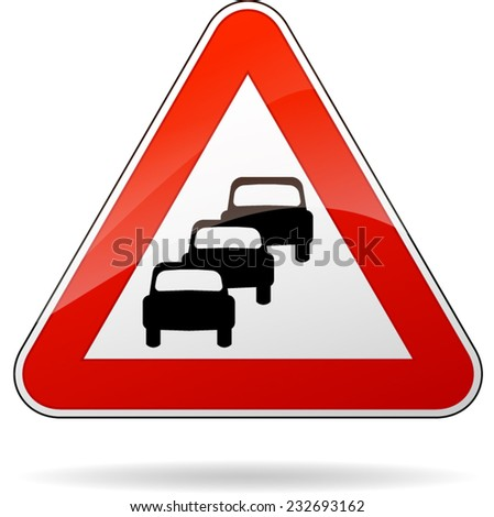 illustration of triangular isolated sign for traffic jam - stock vector