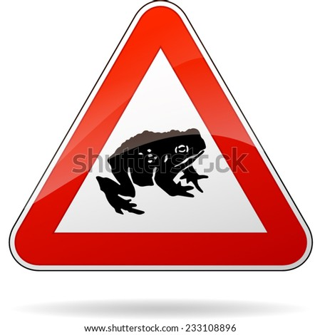 illustration of triangular warning sign for toads - stock vector