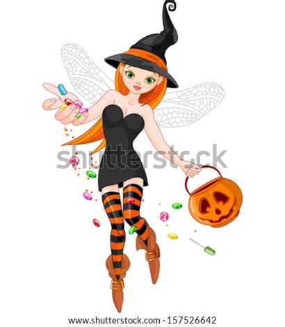 Illustration of trick or treating witch