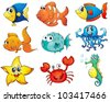 Illustration of tropical fish collection - stock vector