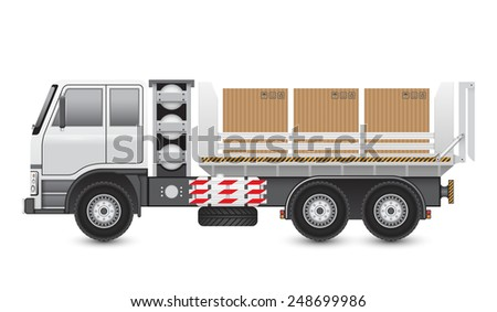 Illustration of trucks and carton isolated on white background. - stock vector