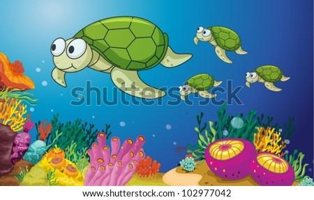 illustration of turtles underwater - stock vector
