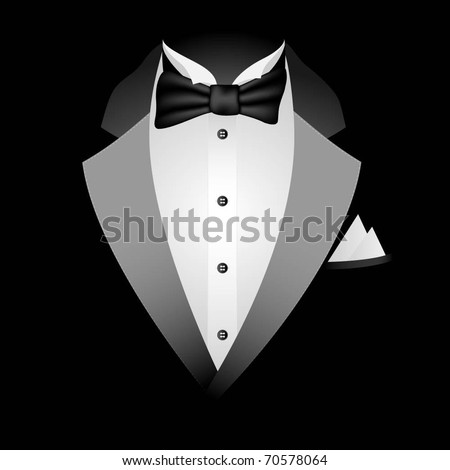 Illustration of tuxedo with bow tie on a black background. Vector. - stock vector