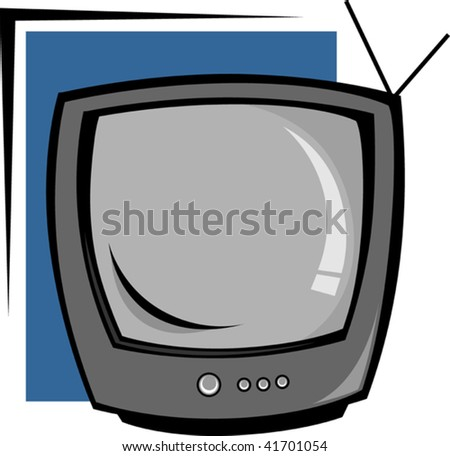 Illustration of TV in black shade background with stand
