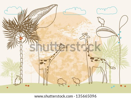 Illustration of two african giraffes and birds - stock vector