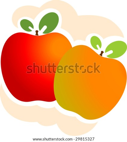 Illustration of Two apples with leaves	 - stock vector