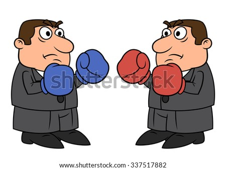 Illustration of two businessmen with boxing gloves going to fight - stock vector