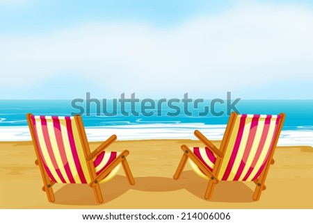 Illustration of two chairs on a beach - stock vector