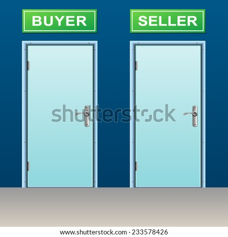 illustration of two doors for buyer and seller - stock vector