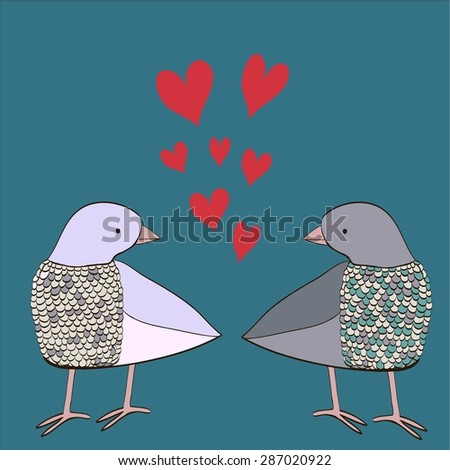 Illustration of two doves in love on blue background with red heart. Cartoon and cute hand drawn animals made in vector. Perfect design for cards, invitations, print. - stock vector