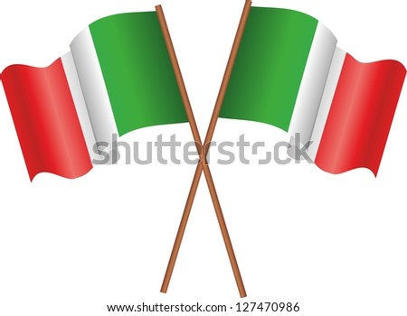 Illustration of two flags of the Italy