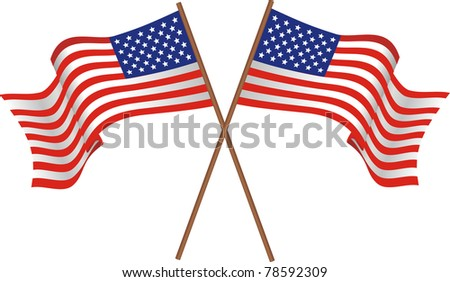 Illustration of two flags of the USA - stock vector